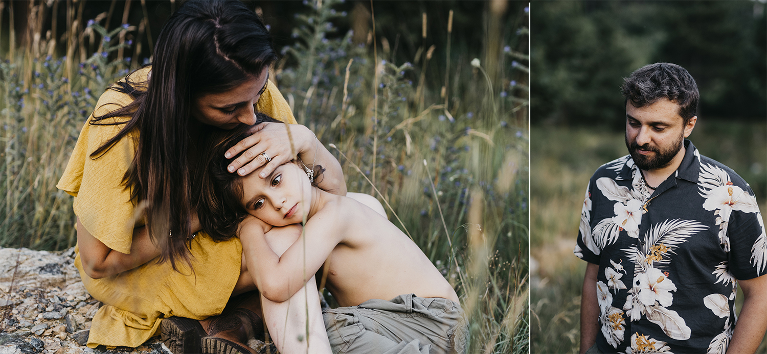 Family outdoor photo session @ Piani di Praglia. Genova. Liguria. mom hugging kid. Rebecca Rinaldi Photography.