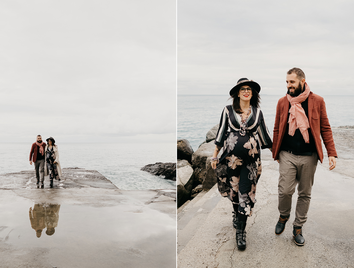 Rebecca Rinaldi maternity photographer in Italy. maternity photo shoot in Camogli, Couple walking  on the peer.