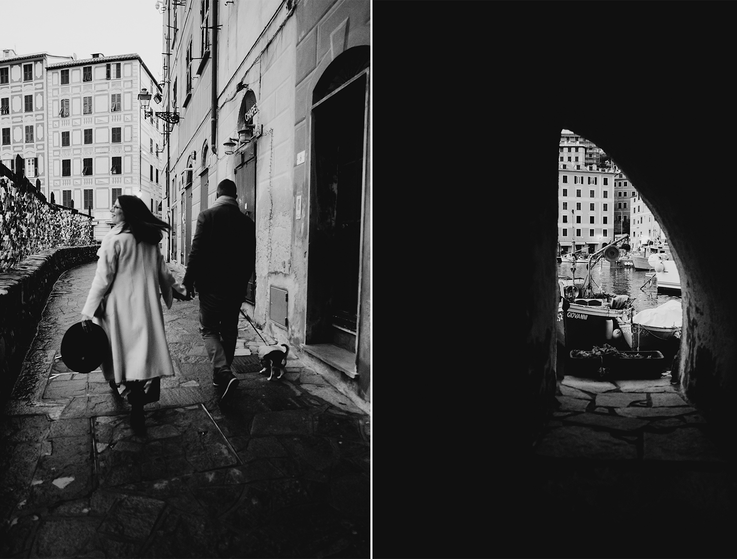 Rebecca Rinaldi maternity photographer in Italy. maternity photo shoot in Camogli, Couple leaving the town.