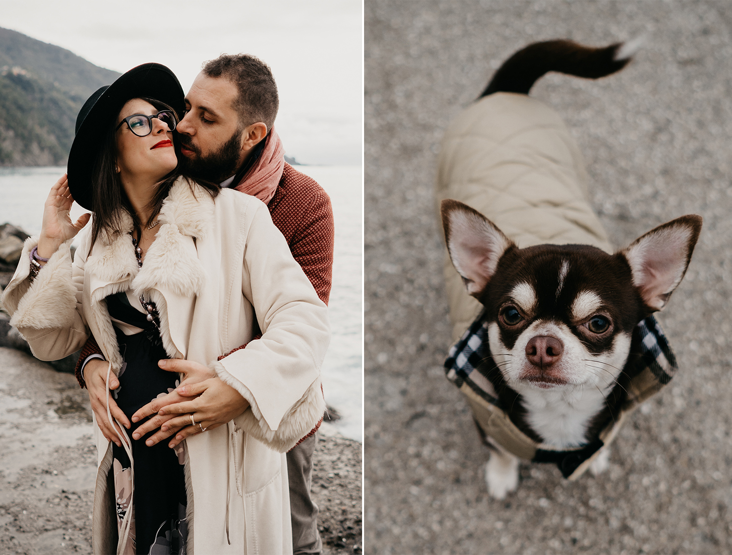 Rebecca Rinaldi maternity photographer in Italy. maternity photo shoot in Camogli, Future dad kissing future mom. and detail ofe dog.