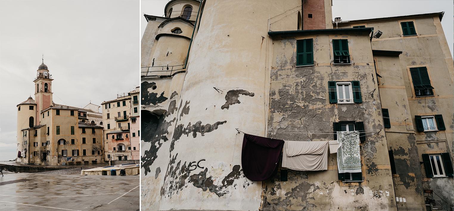 Rebecca Rinaldi fotografia gravidanza e maternità. Servizio fotografico maternita a Camogli, Genova. Vista della chiesa sul mare e dettaglio abitazioni.