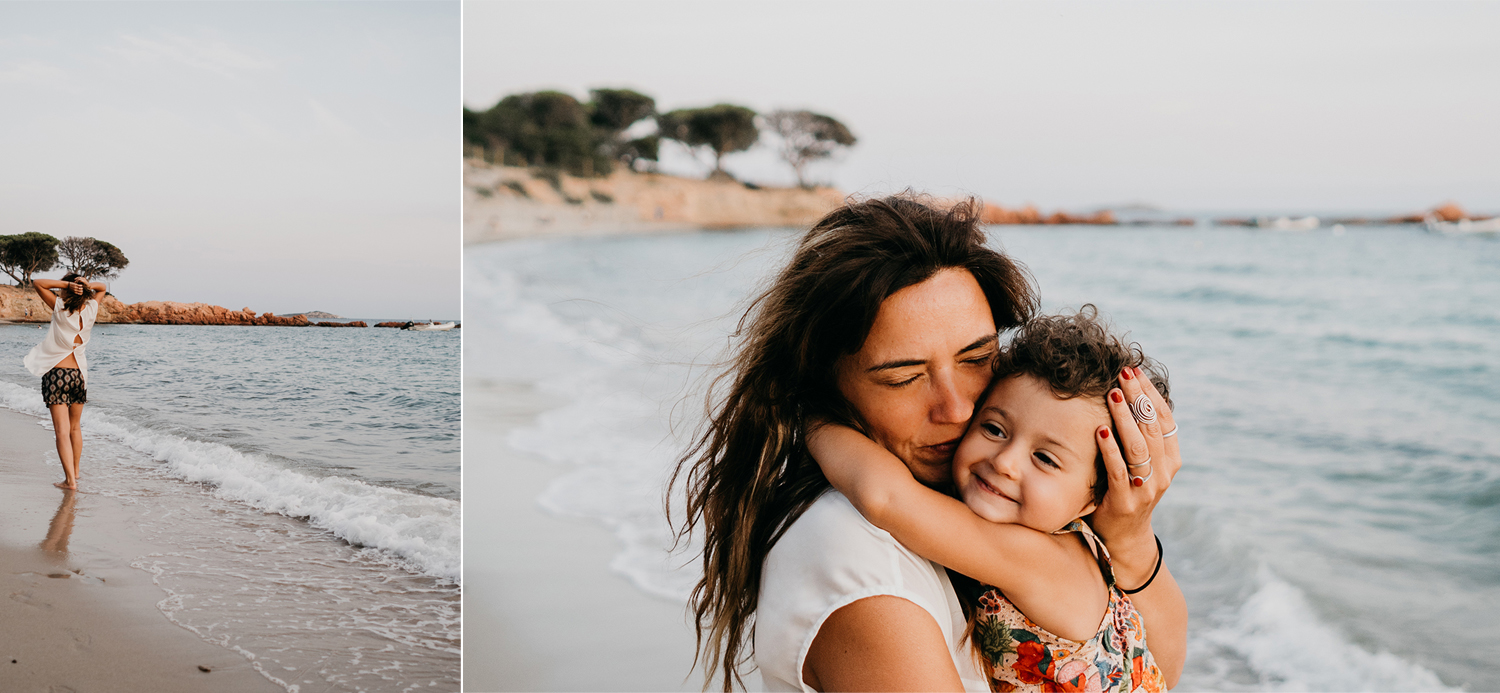mom and doughter playing on the beach during family lifestyle photo session in palombaggia beach, santa giulia. Corsica. by rebecca rinaldi photography
