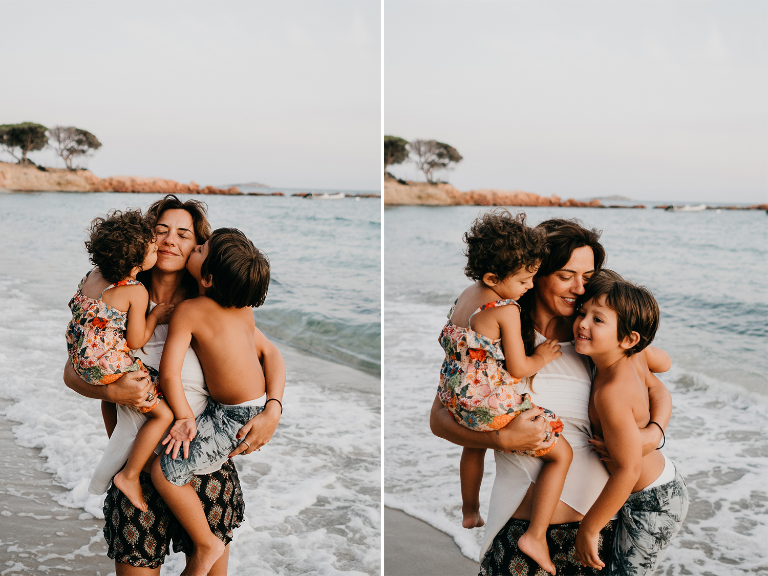 mom hugging  both kids on the beach during family lifestyle photo session in palombaggia beach, santa giulia. Corsica. by rebecca rinaldi photography