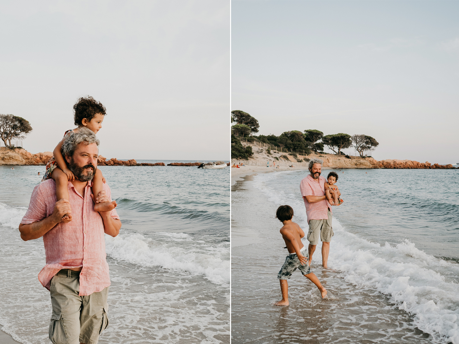 dad and kids playing on the beach during family lifestyle photo session in palombaggia beach, santa giulia. Corsica. by rebecca rinaldi photography