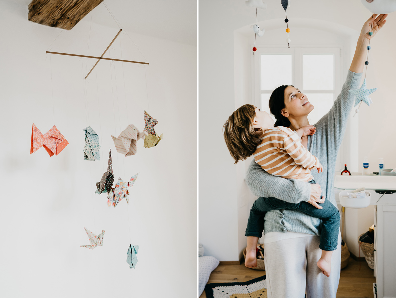 rebecca rinaldi  family photography.   big brother playing with mom with hanging origami.