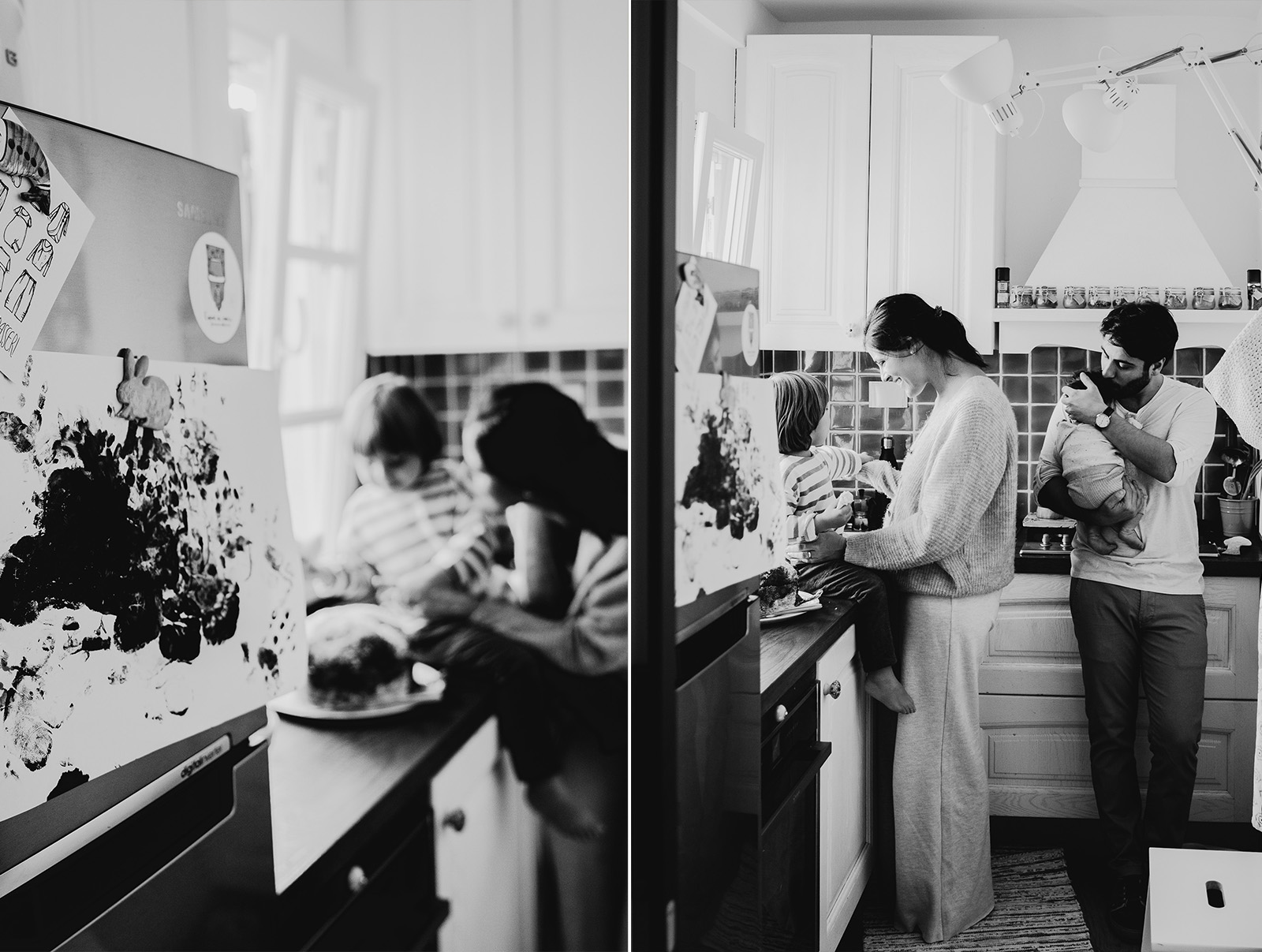 rebecca rinaldi  family photography.   family in kitchen having a snack .with panettone..